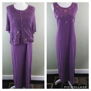 Purple Maxi Dress with Crochet Jacket 12 NWT